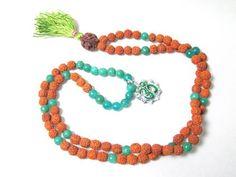 Green Jade Heart Chakra - Ganesha Rudraksha Prayer Beads Yoga Japa Mala 108 + 1