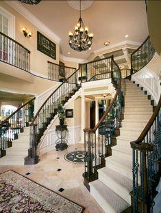 12 Awesome Grand Staircase Design Ideas For Amazing Home. If you are looking for Grand Staircase Design Ideas For Amazing Home, You come to the right place. Double Staircase, Modern Staircase, Grand Staircase, Staircase Design, Staircase Ideas, Staircase Remodel, Villa Plan, Elegant Home Decor, Elegant Homes