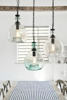 Coastal Kitchen Lighting, Coastal Light Fixtures, Beach House Lighting, Farmhouse Kitchen Lighting, Cottage Lighting, Kitchen Ceiling Lights, Home Lighting, Lighting Ideas, Bathroom Hanging Lights