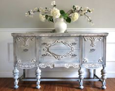 Antique Jacobean Carved Wood Ornate French Country Hand Painted Antique Grey Buffet