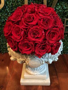 Rose topiary urn