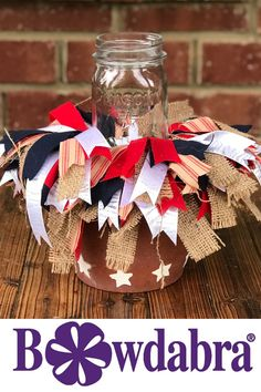Make an easy Summer Outdoor Table Centerpiece. DIY scrappy bows add character and farmhouse flair to this easy centerpiece. Outdoor Table Centerpieces, Outdoor Table Decor, Simple Centerpieces, Table Decorations, Diy Table, Patriotic Decorations, Christmas Tree Decorations, Easy Diy Projects, Craft Projects