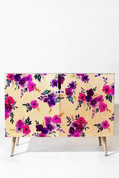 Amy Sia Ava Floral Purple Credenza | DENY Designs Home Accessories