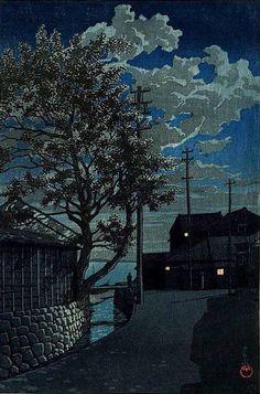 "huariqueje: "" Kamezaki, Bishu, from the series ""Souvenirs of Travel, Third Series"" (Tabi miyage dai sanshu, Bishu Kamezaki) - Kawase Hasui, 1928 Japanese, 1883-1957 Color woodblock print, 38.8 x 26.0 cm (paper); 36.7 x 24.3 (block) """