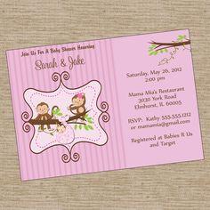 Fancy baby shower invitation printable digital diy download monkey pink baby shower invitation printable invitation design 800 via etsy filmwisefo