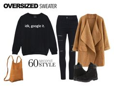 """Oversized Sweater Style"" by itsgirliecici ❤ liked on Polyvore featuring Le Donne and Timberland"