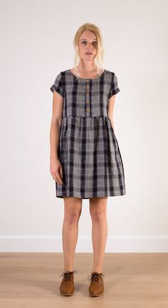 Grey plaid linen, knee length dress  http://www.pyneandsmith.com/imported-products/grey-plaid-linen-knee-length-dress
