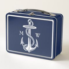 Vintage White Anchor Rope Navy Blue Monogram Metal Lunch Box - retro gifts style cyo diy special idea