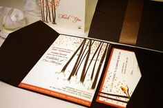 SAMPLE Fall Forest Pocketfold Wedding Invitation, Rustic and Modern, Burnt Orange, Chocolate Brown, Cream on Etsy, $3.00