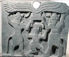 Relief depicting Gilgamesh between two bull men supporting a winged sun disk, from Tell Halaf, Syria