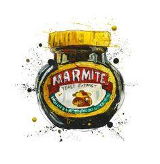 Marmite art print kitchen food and drink breakfast homeware british illustration painting Original Artwork, Original Paintings, Painting Prints, Art Prints, Artist Sketchbook, Christmas Poster, Marmite, Encaustic Art, Vintage Prints