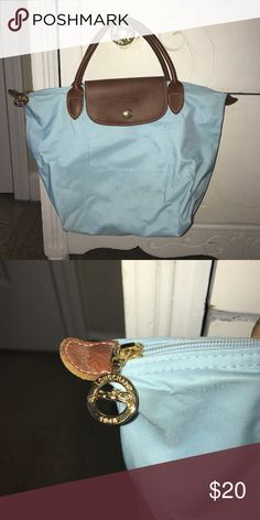 "Longchamp ""Mini Le Pliage"" Handbag Purchased in Paris, France, light blue in color, very reliable handbag Longchamp Bags Satchels"