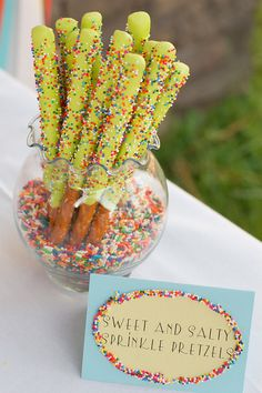 Cute way to display sprinkled pretzels Sprinkles Birthday Party, Part 2! Dessert Table Time! | TikkiDo.com