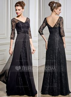 [US$ 169.99] A-Line/Princess V-neck Floor-Length Chiffon Lace Mother of the Bride Dress With Beading Sequins