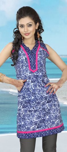 Cotton Kurti in Blue color.