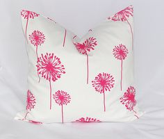 "Hot PINK Pillows Accent Pillow Cover ONE 18 inch pink, white DANDELION Pillowcase 18"". $17.00, via Etsy."