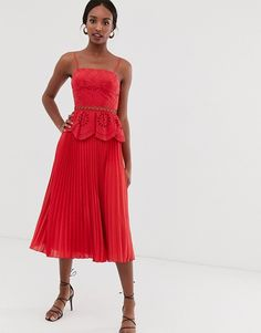 Find the best selection of ASOS DESIGN Tall broderie cami midi dress with pleated skirt. Shop today with free delivery and returns (Ts&Cs apply) with ASOS! Tall Dresses, Formal Dresses, What To Wear To A Wedding, How To Wear, Cami Midi Dress, Asos, Discount Shopping, Mi Long, Pleated Skirt