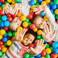 Above view portrait of three happy little kids in ball pit smiling at camera raising hands while having fun in children play center, copy space - Buy this stock photo and explore similar images at Adobe Stock Soft Play Equipment, Online Toy Stores, Pediatric Occupational Therapy, Toddler Play, Children Play, Play Centre, Indoor Playground, Play To Learn, Kids Education