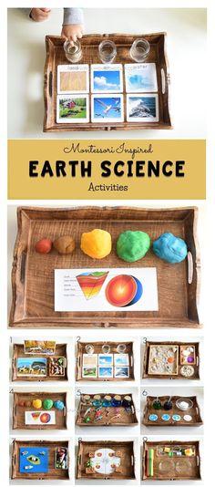 Earth Science for kids science kidsactivities activitytrays montessori earthday Science Montessori, Earth Science Activities, Montessori Homeschool, Montessori Classroom, Preschool Science, Science For Kids, Montessori Elementary, Science Experiments, Montessori Bedroom