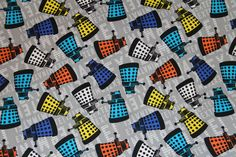 BBC Dr Who DALEK TOSS 100% cotton fabric sold by the yard gray tine background #SpringsCreative