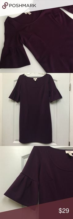 Plum dress Beautiful shade of plum, perfect for work or an evening out- can be dressed up or down! Never worn, dry clean only. LOFT Dresses