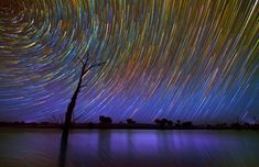 The starry sky enhanced by photographs Light Painting