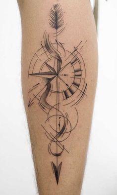 Compass Tattoos Arm, Compass Tattoo Design, Geometric Tattoo Design, Forearm Tattoos, Body Art Tattoos, Mens Arrow Tattoo, Arrow Tattoos, Cute Tattoos For Women, Tattoos For Guys