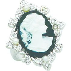 Sterling Silver Resin Imitation Pearl & CZ Ring Sz 6 FindingKing. $34.99