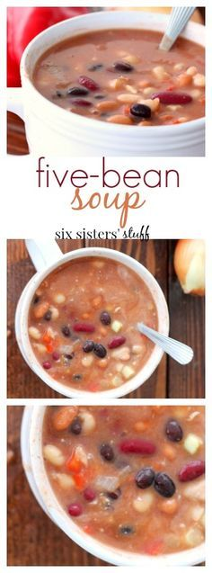 Five-Bean Soup recipe from Six Sisters' Stuff   Five-Bean Soup is such an easy soup recipe, and you probably already have most the ingredients. This soup is my go to recipe when I am busy or don't have time to go to the store. I usually keep all the beans in my pantry in case I need a quick recipe! I love to dip my bread sticks in this soup. It's delicious!