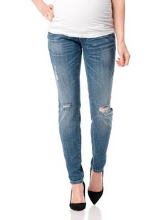 0bdfab6fa58eb Indigo Blue // Motherhood Maternity // Premium Secret Fit Belly Destructed Skinny  Leg Maternity Pants