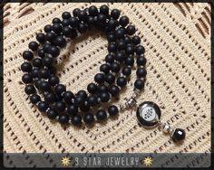 """""""Virtue"""" Baha'i Prayer Beads with acrylic baha'i Ringstone by 9StarJewelry #bahai #bahaiprayerbeads #prayerbeads #9starjewelry"""