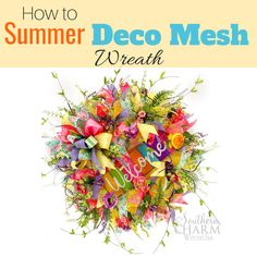 In this video, learn to make a stunning deco mesh wreath with two colors of mesh, ribbon, bow and a sign. In this video, learn to make a stunning summer deco mesh wreath with two colors including how to tie a bow and attach a sign for your front door. Wreath Crafts, Diy Wreath, Wreath Ideas, Fabric Wreath, Diy Crafts, Mesh Wreath Tutorial, Summer Deco, Deco Mesh Wreaths, Flower Wreaths