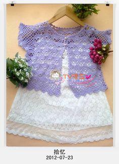Crochet Knitting Handicraft: Openwork crochet bolero for a little girl Free Childrens Knitting Patterns, Crochet Ideas, Crochet Girls, Crochet For Kids, Crochet Children, Crochet Blouse, Knit Crochet, Crochet Crafts, Crochet Baby Dresses