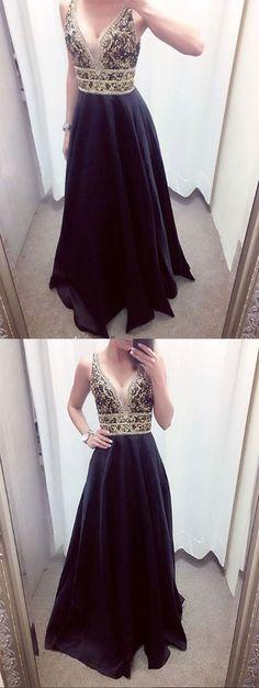Black v neck beaded long prom dress, black evening dress – trendty