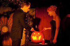 Then, instead of lighting a unity candle like many couples do during the ceremony, the couple lit the one dark jack-o-lantern together -a unity-o-lantern.
