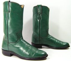 cowboy boots womens 55 B M green ropers by vintagecowboyboots, $39.99