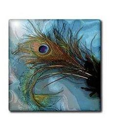 Abstract Peacock Feather Ii Wall Clock, 10 by Peacock Decor, Peacock Colors, Peacock Feathers, Best Wall Clocks, Cool Dog Houses, Tile Coasters, Tile Art, Room Themes, My Favorite Color