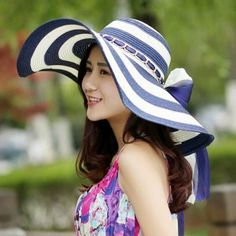 Navy and white striped straw hat for women with bow wide brim sun hats d75f5badcea4