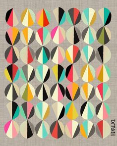 The repetition of pattern combined with color variance creates an asymmetrical, yet balanced poster, utilizing mosaic balance. Inaluxe, 2010.                                                                                                                                                      More