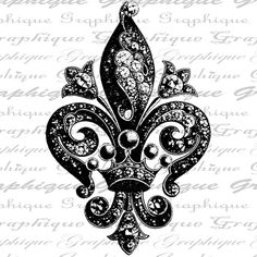 Fleur de Lis Ornate Intricate Design French Jewels Crown Digital Image Download Sheet Transfer To Pillows Tote Tea Towels