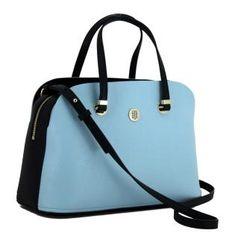 b7745baebbe32 Handtasche Tommy Hilfiger Core Satchel hellblau Schultergurt