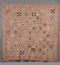 Quilt War & Piecing: Variable Stars: Antique & Reproductions - Stars alternating with a striped toile Old Quilts, Star Quilts, Antique Quilts, Vintage Textiles, Vintage Quilts, Pink Quilts, Amish Quilts, Vintage Sewing, Quilt Blocks