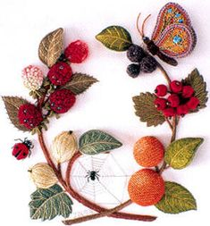 Jane Nicholas - Butterfly and Berries Dimensional Embroidery
