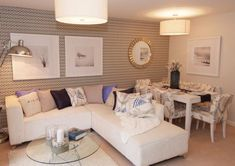 David Wilson Homes - Nugent at Farndon Fields, Watson Avenue, Market Harborough - Interior Design Idea for a very small lounge / dining room. I think this works really well