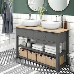 SHOP the Trafalgar Grey Countertop Vanity Unit and Double Round Basins at Victorian Plumbing UK Double Sink Bathroom, Bathroom Basin, Small Bathroom, Bathroom Ideas, Family Bathroom, Bathroom Layout, Master Bathroom, Cloakroom Ideas, Bathroom Sink Units