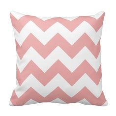 "Soft Pink and White Chevron 16"" x 16"" Throw Pillow"