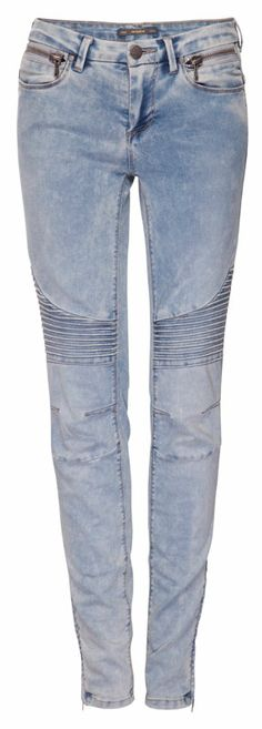 :SKINNY BIKER JEANS WITH KNEE PATCHES