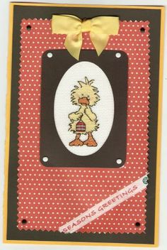 """cross stitched """"Witzy"""" card"""