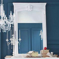 Miroir trumeau en bois blanc H 160 cm JOSÉPHINE                                                                                                                                                                                 Plus