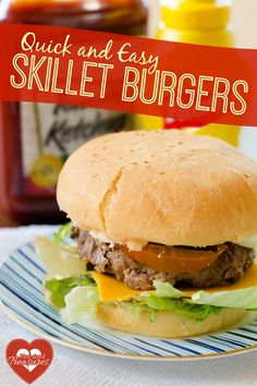 QUICK AND EASY SKILLET BURGERS No time to grill out? Enjoy amazing, homemade burgers that are made in the skillet! Easy, yummy and QUICK! @alicanwrite